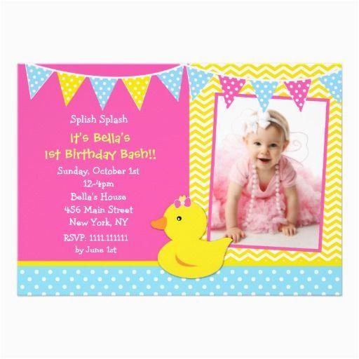 rubber ducky 1st birthday invitations