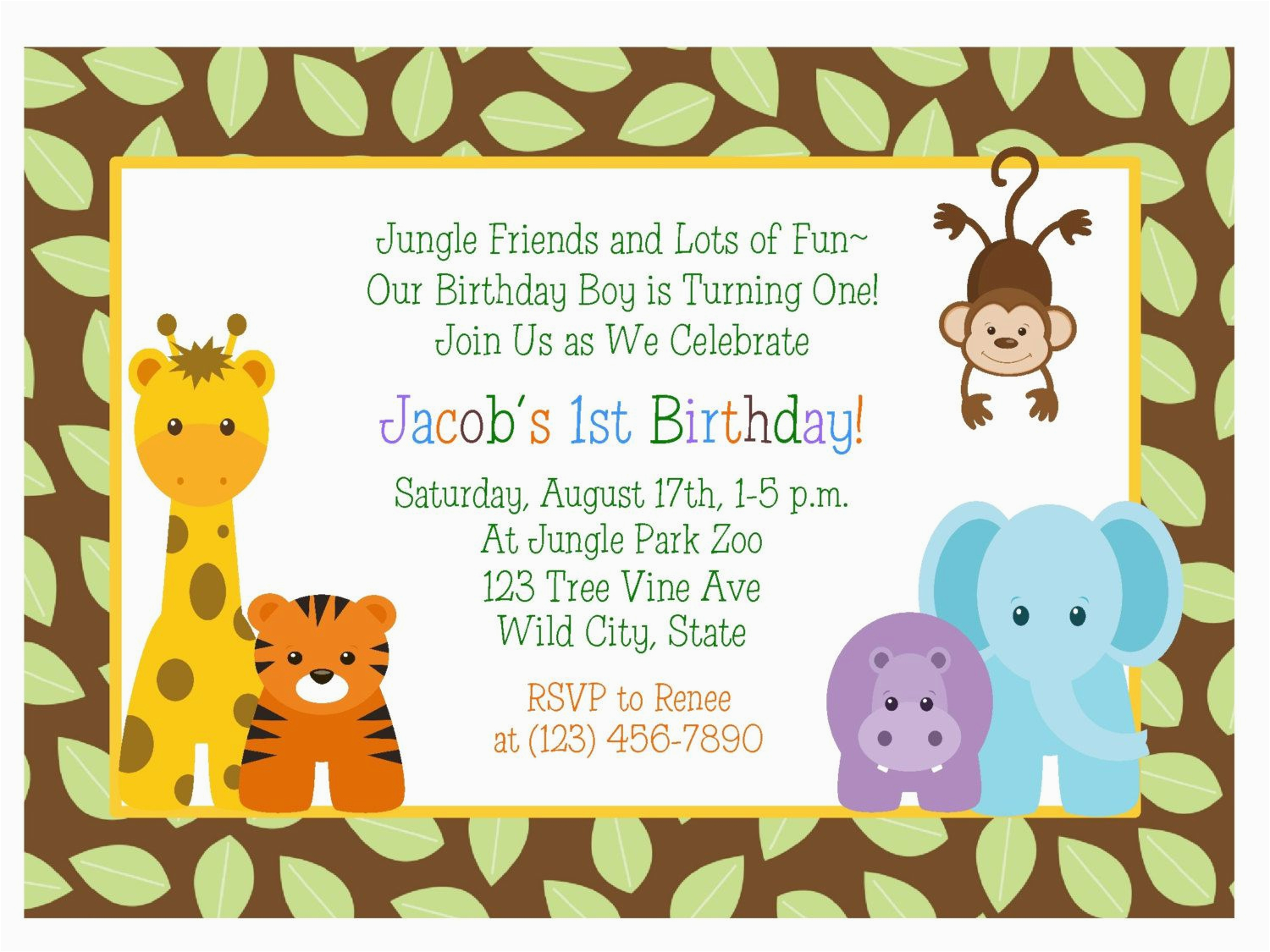 jungle themed 1st birthday invitations
