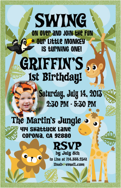 jungle themed safari 1st birthday invitation p 23