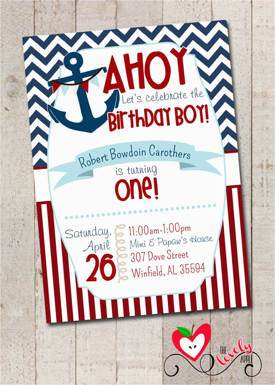 Sailor Birthday Invitations Nautical Birthday Boy Party Nautical First by thelovelyapple