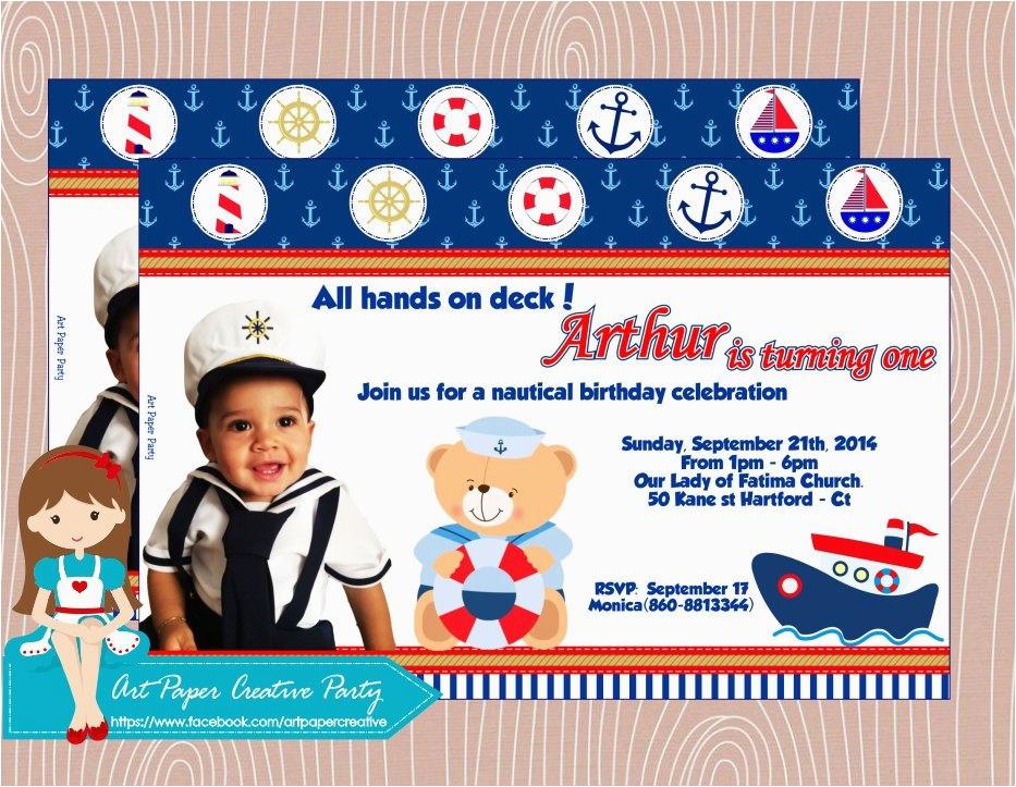 personalized nautical teddy birthday invitation 5x7 set 12 mod 3