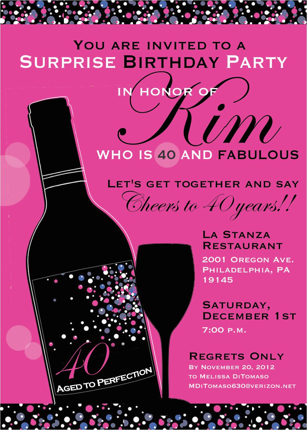 Sample 40th Birthday Invitation 8 Invitations Ideas And Themes