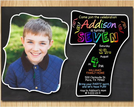 Sample 7th Birthday Invitation for Boy 7th Birthday Invitation Chalkboard Invite Rainbow Colors