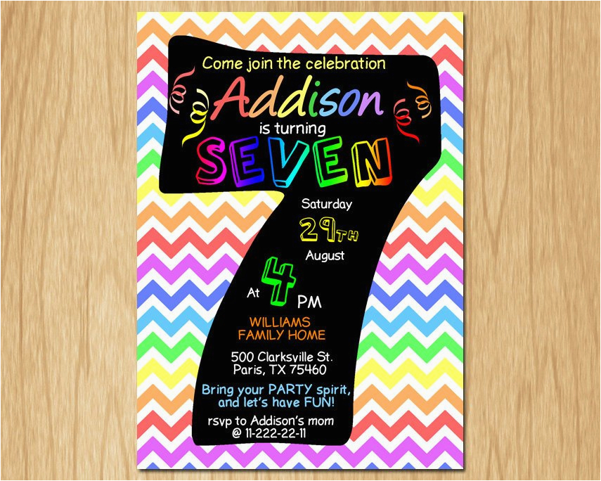 7th birthday invitation rainbow chevron