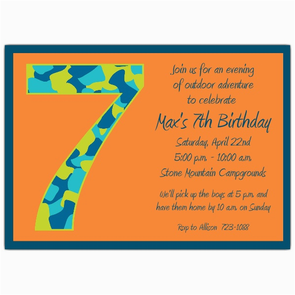 birthday boy camo 7th birthday invitations p 602 57 1049