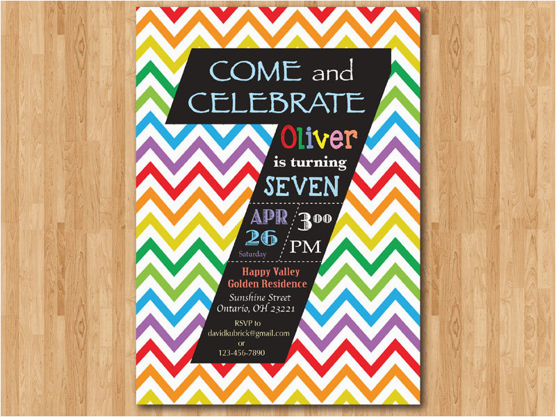 rainbow 7th birthday invitation colorful