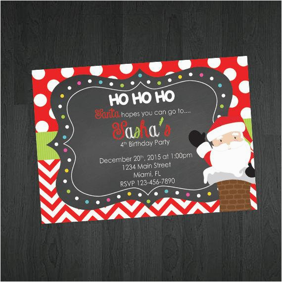 christmas birthday invitation santa