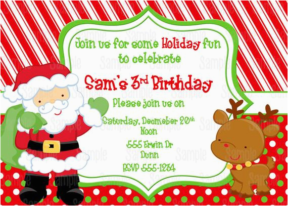 printable santa birthday party invitation free