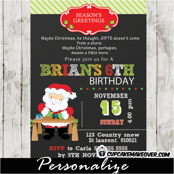 santa birthday party invitation chalkboard personalized d19