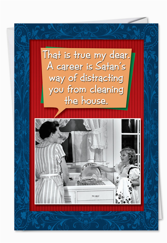 8064 career satan distracts funny talk bubbles birthday card