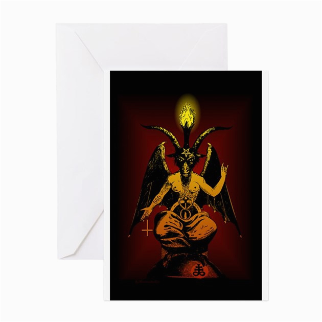 satanic goat greeting cards productid 48259654