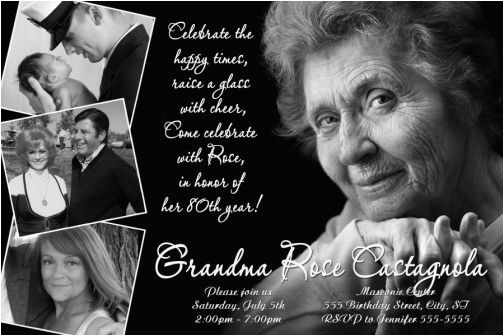 Save the Date 80th Birthday Invitations Classic Black White 80th Birthday Invitation 40th 50th