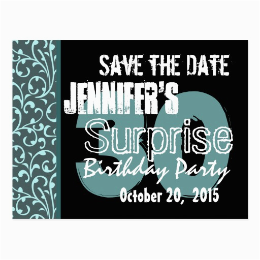 30th surprise birthday teal swirls save the date postcard 239753103448371806