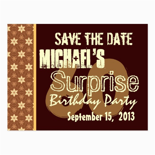 60th surprise birthday save the date gold postcard 239187613260652203