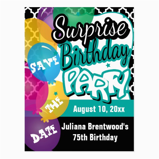 surprise birthday party save the date postcard 239027833878803693