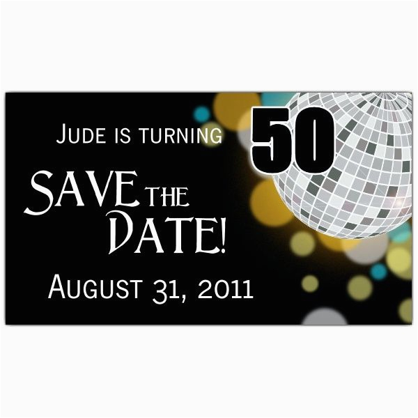 Save The Date Invitation Wording For Birthday Party Disco Ball 50th Magnets Paperstyle