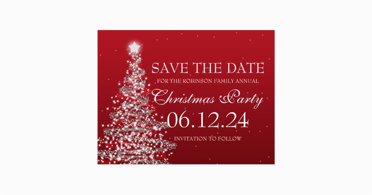 elegant save the date christmas party red postcard 239456070365838114