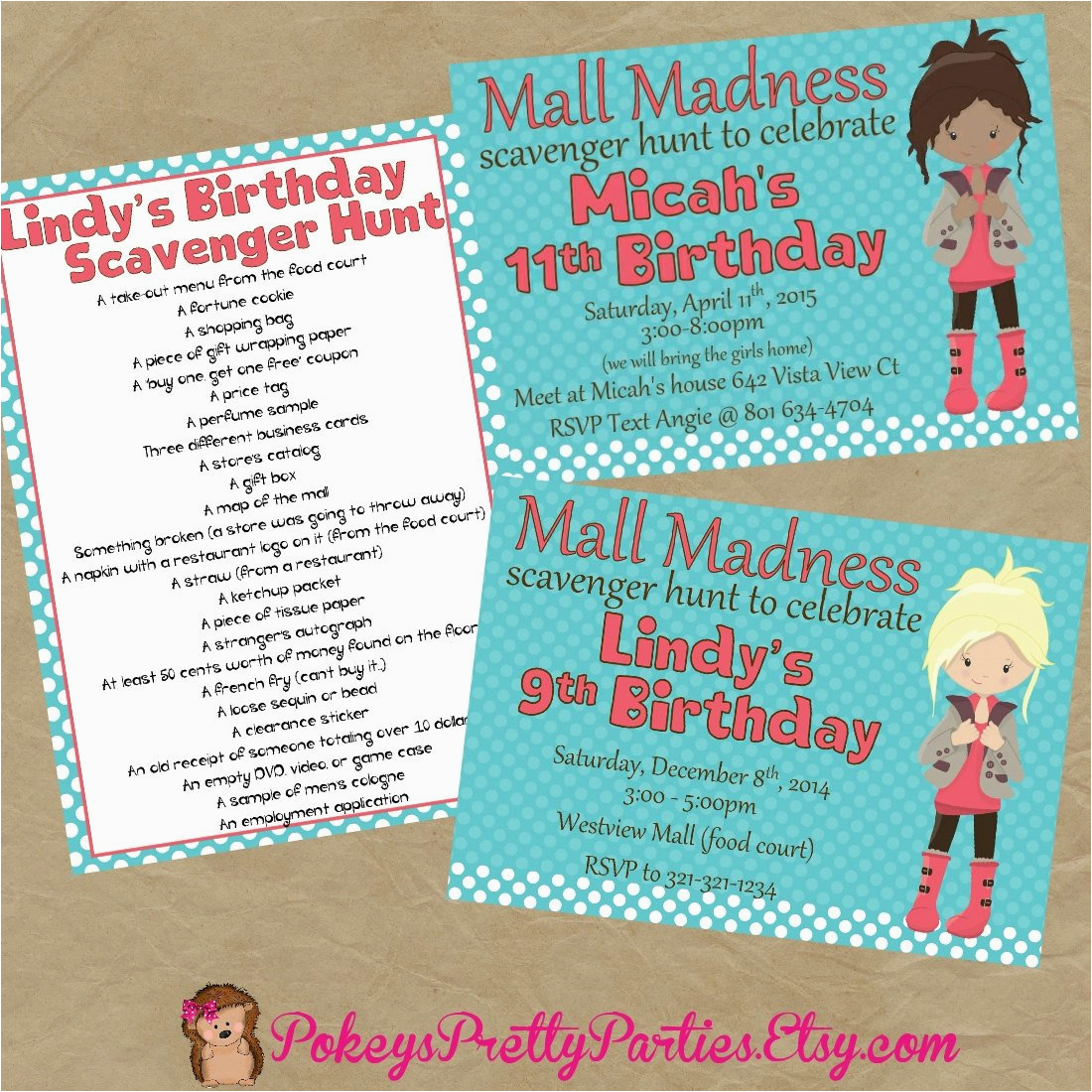 mall scavenger hunt birthday party