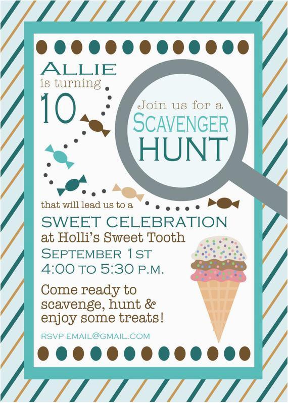 birthday scavenger hunt invitation