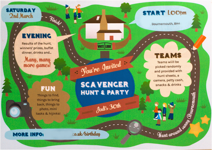 scavenger hunt birthday party invitations