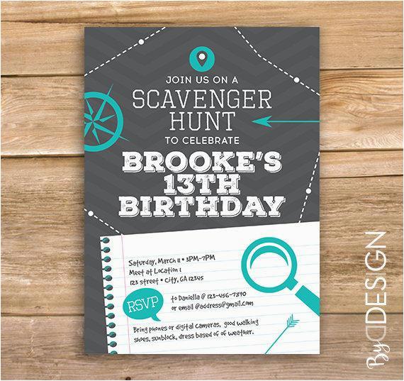 scavenger hunt birthday party invite
