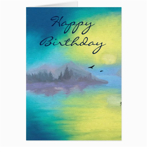 happy birthday with scenic landscape greeting card 137790763356678104