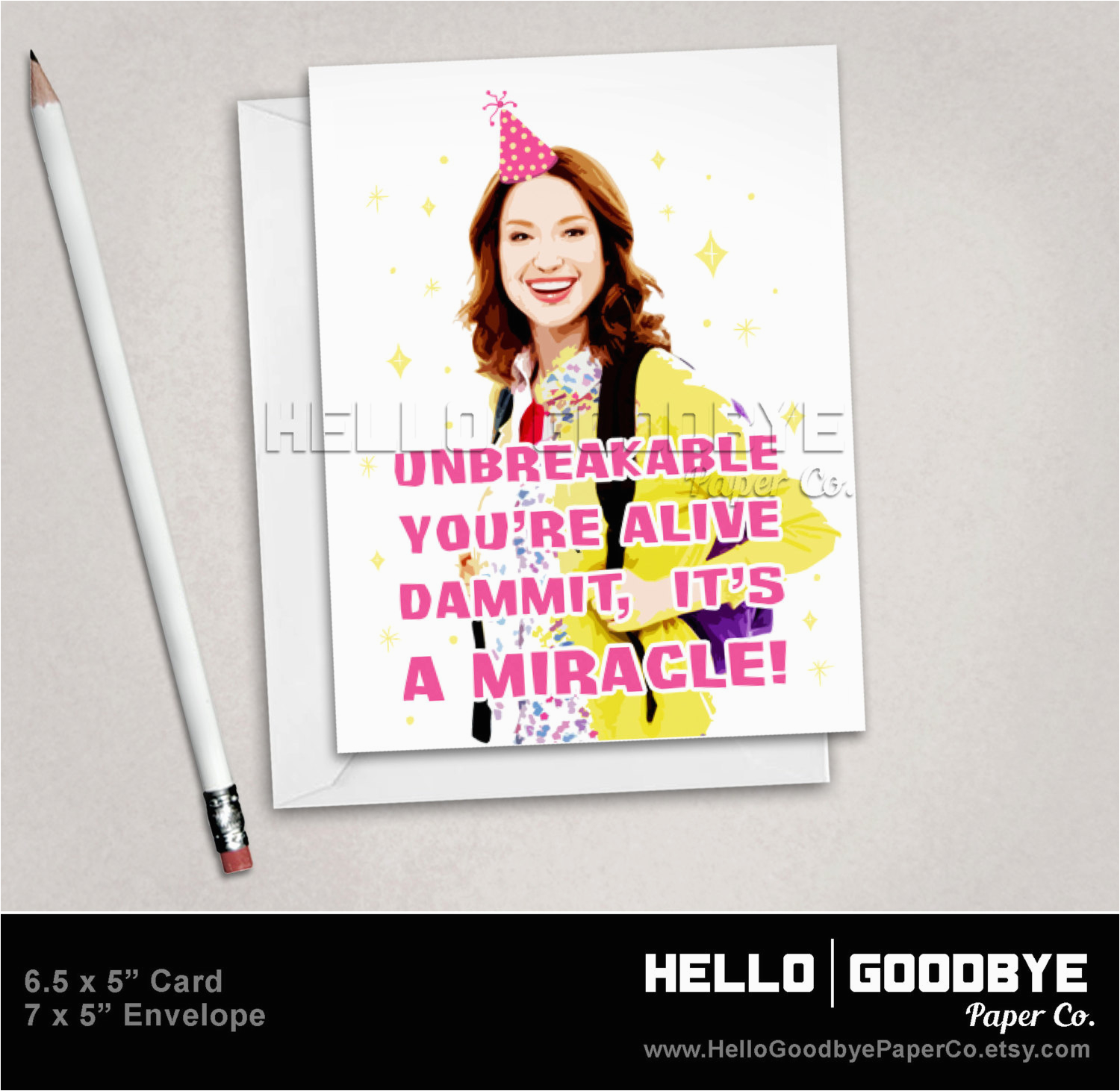 kimmy schmidt birthday card friendship by hellogoodbyepaperco