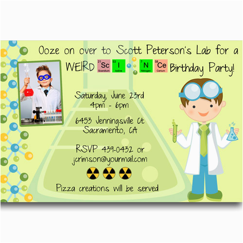 free printable mad science birthday party invitations