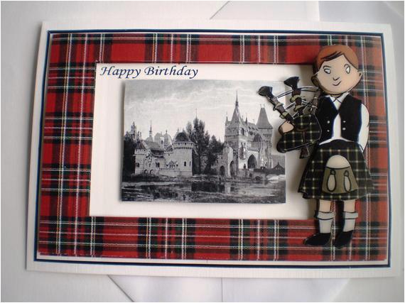 handmade scottish piper birthday card
