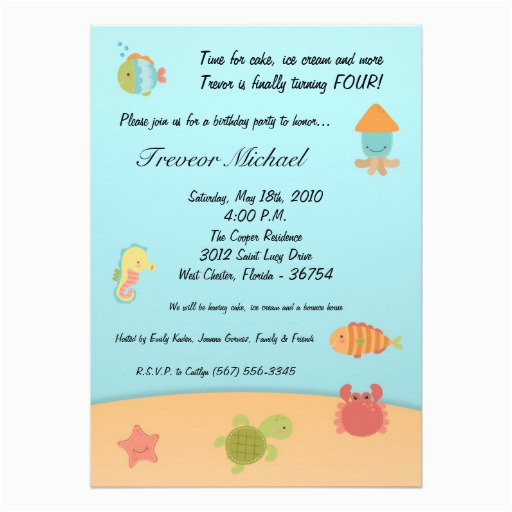 5x7 sea life ocean fish birthday party invitation 161101534140269770