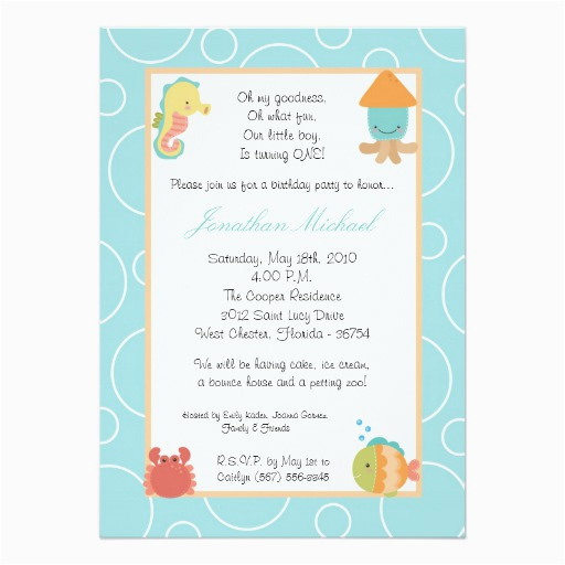 5x7 sea life ocean fish birthday party invitation 161469328211374141