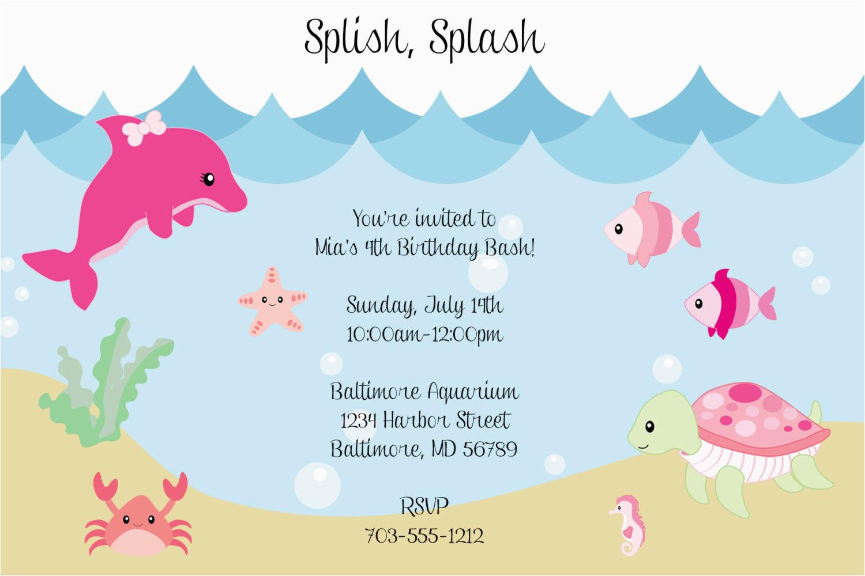 Sea Life Birthday Party Invitations Under the Sea Birthday Invitations Wording Free