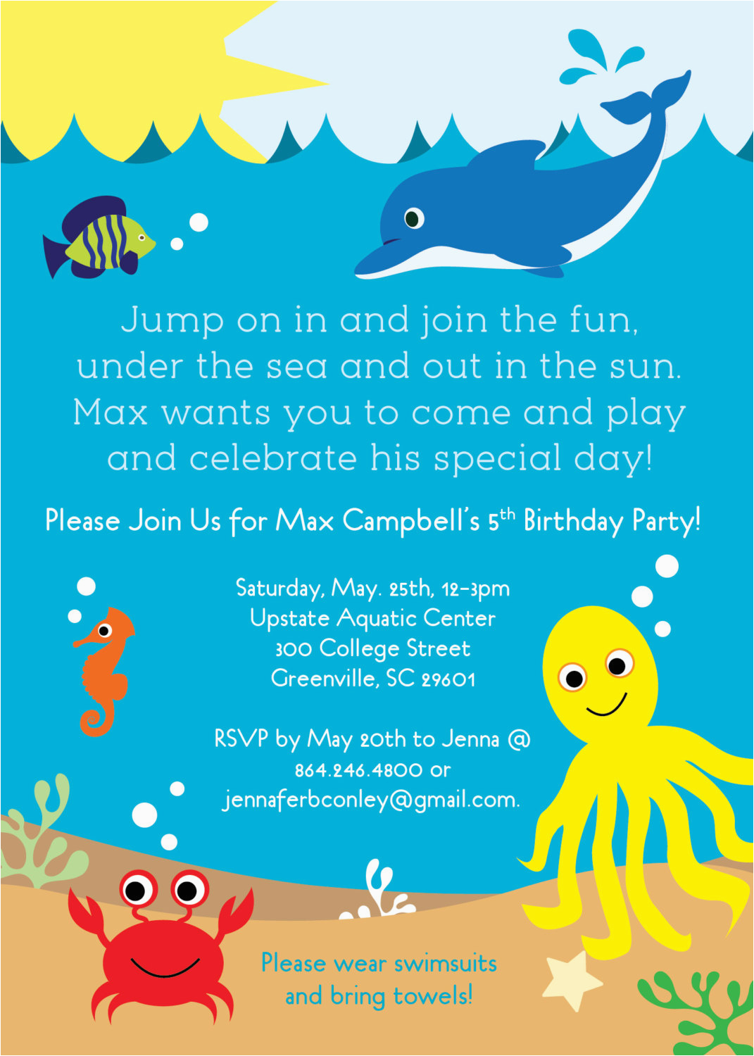 6810094 under the sea birthday party invitations boy or girl sea life creatures