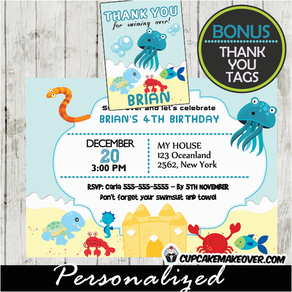 Sea Life Birthday Party Invitations Under the Sea Mermaid Birthday Invitation Personalized