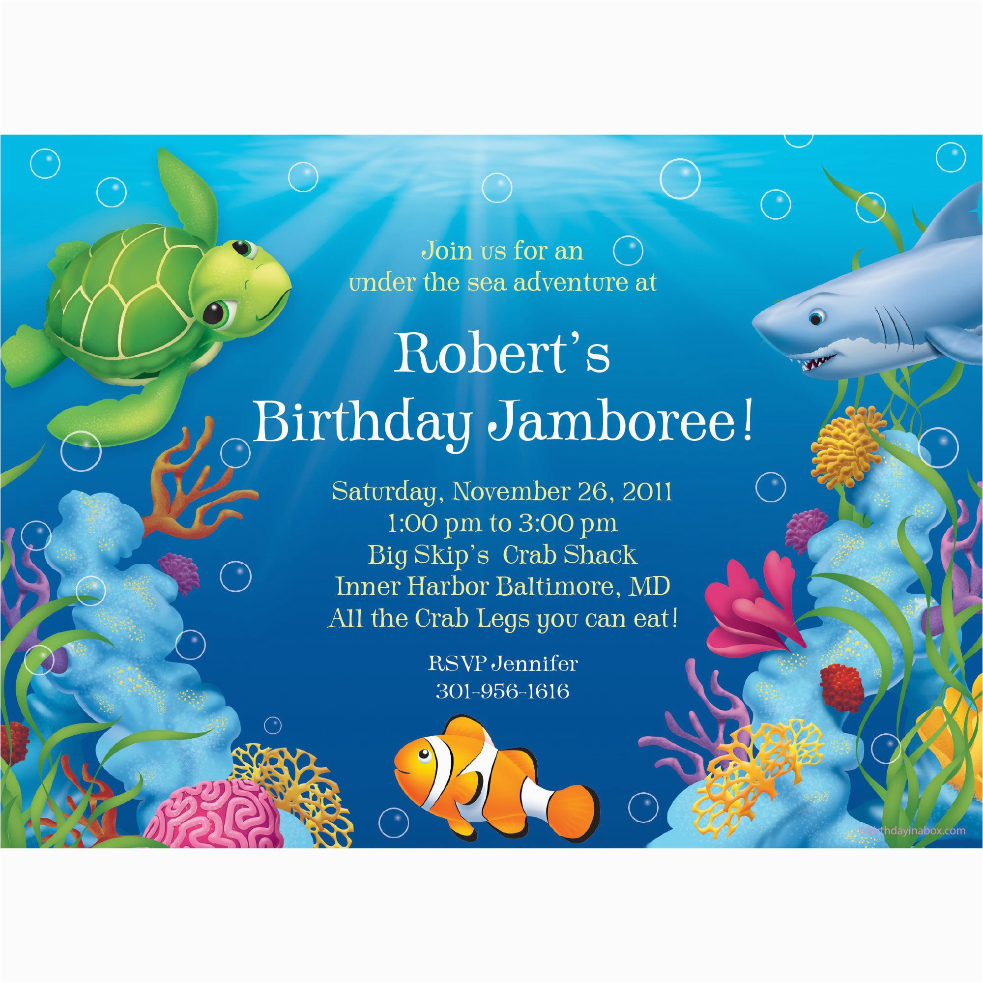 ocean party personalized invitation each