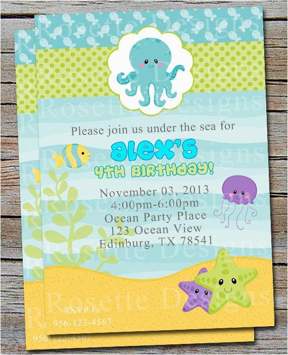 under the sea birthday invitation new