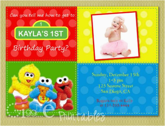 Sesame Street 1st Birthday Photo Invitations Sesame Street 1st Birthday Invitation