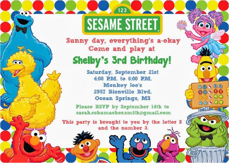 sesame street 1st birthday photo invitations