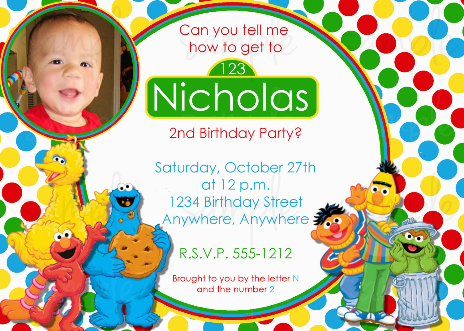 Sesame Street 1st Birthday Photo Invitations Invitation