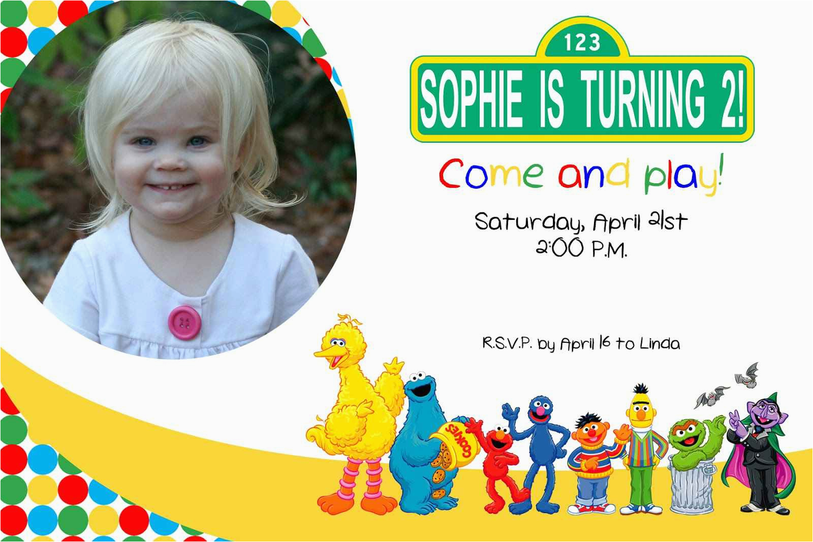 Sesame Street Birthday Party Invitations Personalized 2nd Best Ideas