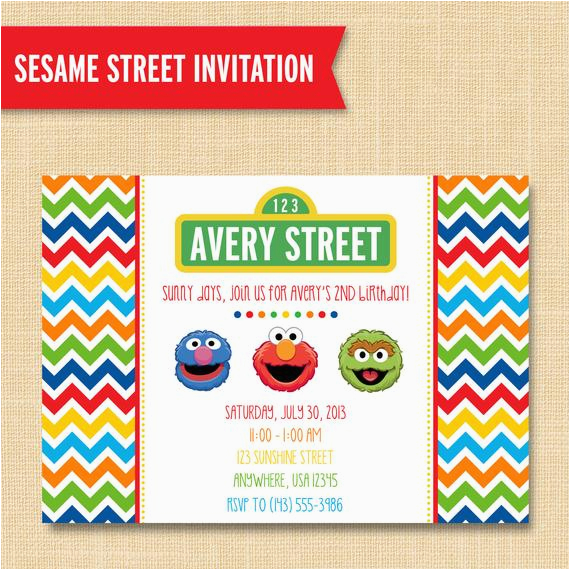 Sesame Street Birthday Party Invitations Personalized Style Friends Invitation Custom