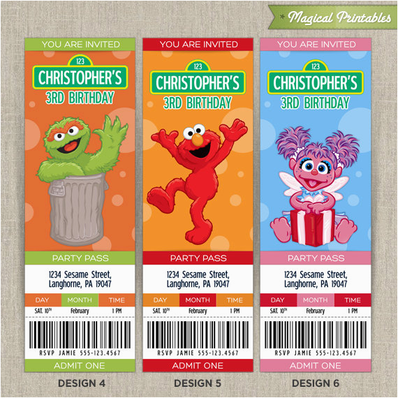 Sesame Street Birthday Party Invitations Personalized Stunning Especially