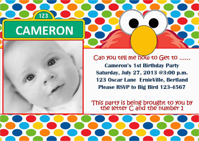 Sesame Street First Birthday Invitations Free Printable Elmo 1st Template