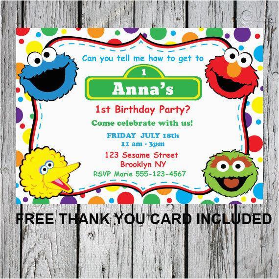 Sesame Street First Birthday Invitations Printable Invitation Diy Elmo