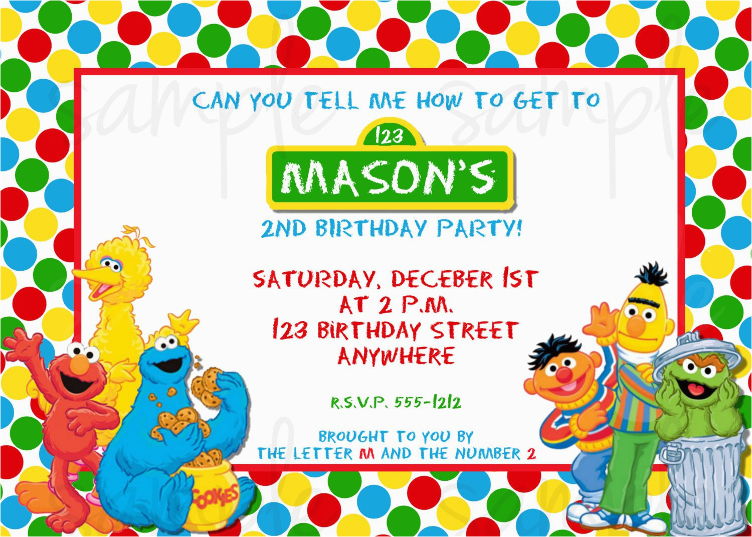 Sesame Street 2nd Birthday Invitations