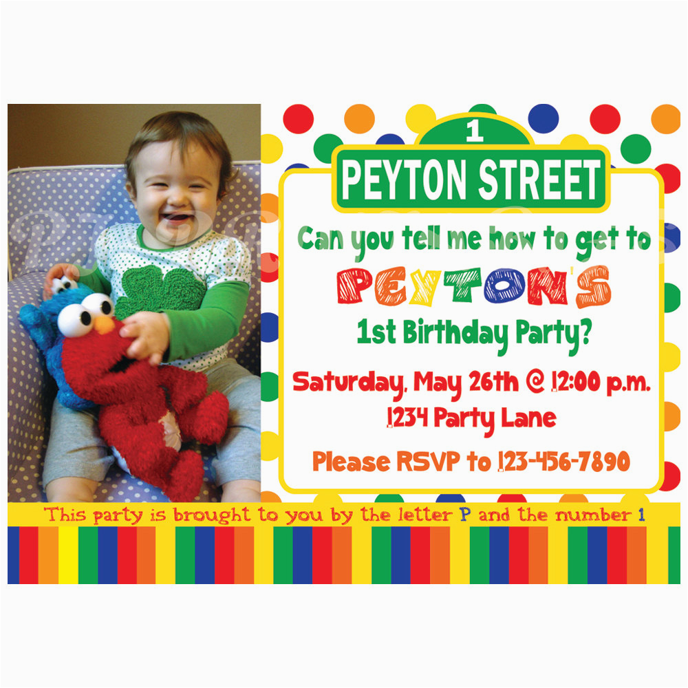 Sesame Street First Birthday Invitations Sesame Street Birthday Invitation Primary Colors Custom