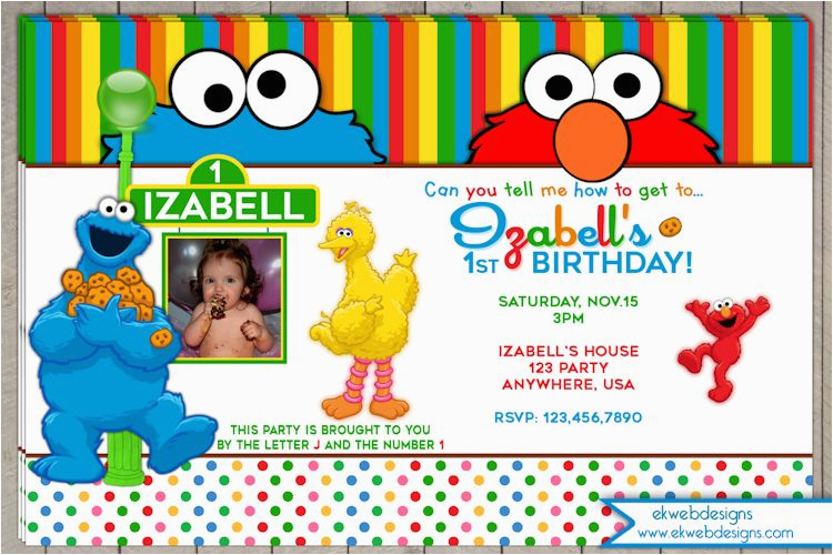 sesame street birthday invitation photo invitation