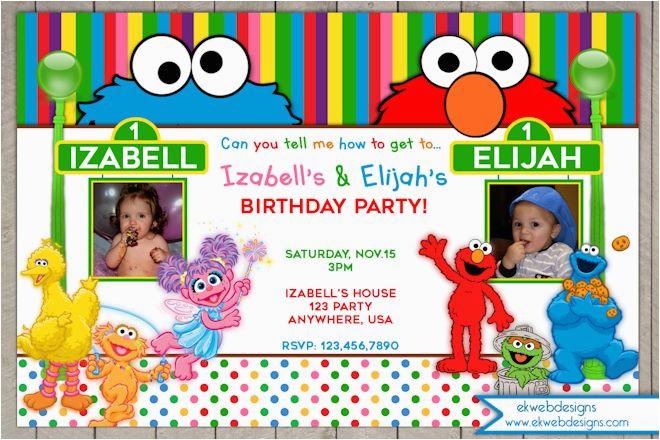 Sesame Street Photo Birthday Invitations Invitation Joint Or
