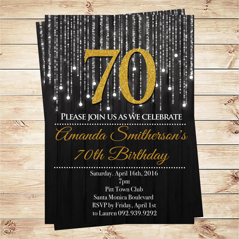 black and gold 70th birthday invitations