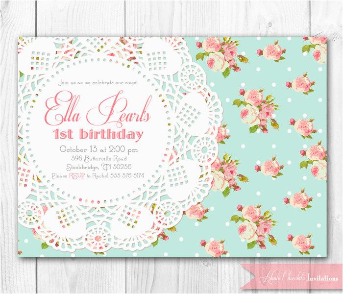 shabby chic birthday invitations template